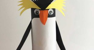 Kids' paper craft project: Make your own rockhopper penguin for Bird of the Year from a toilet roll