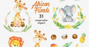 Afrikanische Freunde. Aquarell Tiere Clipart, Löwe, Elefant, Giraffe, Kokosnuss, Ananas, Banane, Grußkarte, laden, Blumen, Blumen, Kranz