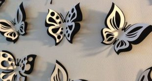 3D paper double butterfly sticker room decoration, nursery room, photo prop, in black and white, 15 pieces