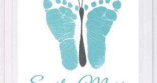 Baby Fußabdruck Kunst, für immer Drucke von hand und Fußabdruck Andenken für Kinder oder Babys. Muttertag, neue Mutter, Kinderzimmer Kunst Baby In liebevoller Erinnerung