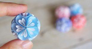 クラフトパンチで作る小花のくす玉の作り方 DIY How to Make Pap...