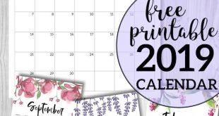 Free Printable Calendar 2019 - Floral