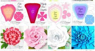 Grandi fiori di carta e modelli di rosa di carta gigante con tutorial, carta fai da te Fiore parete matrimonio sfondo, regalo di Natale