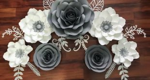 Grey, white, and Silver Paper Flower Set for housewarming party . Paper Flower T...