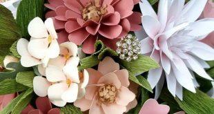 Handmade Paper Flower Bouquet - Blush and Ivory Bridal Bouquet Wedding Bouquet S...