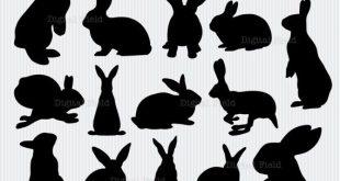 Kaninchen Silhouette Clip Art Set - Ostern Hase - druckbare digitale Clipart - sofort-download