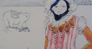 Kapik's favorite vase -- mid century pride creations paper mache container AND original painting -- Inuit and polar bear, bright colors