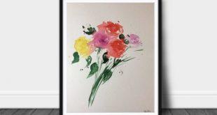 ORIGINAL AQUARELL watercolor painting flowers picture watercolor colorful flowers abstract painting