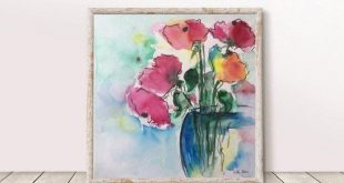 Original watercolor watercolor painting image art Bouquet flowers abstract Watercolor Art