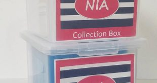 School Memory Box, School Keepsake Box, School Work Organizer, School Organizer, School Paper Storage PDF files-Pink/Blue Stripes