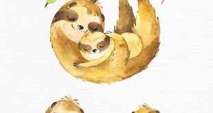 Sloth. Family. Watercolor animals clipart, sleepy sloths, mother, father, florals, babyshower, diy,