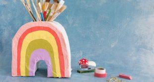 paper mache rainbow vase...